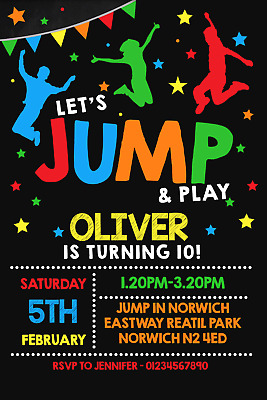 Personalised JUMP Trampoline Party Invitations