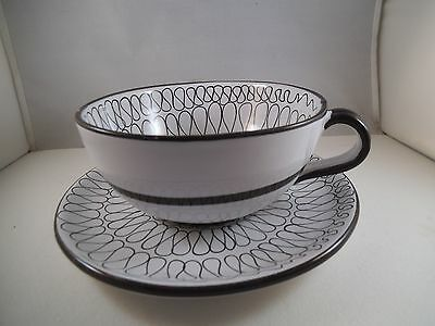 Vintage Made in Italy Art Pottery Large Cappuccino Cup & Saucer Black White