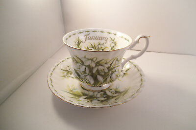 Vintage Royal Albert Bone China Cup & Saucer Flowers of the Month Snowdrops