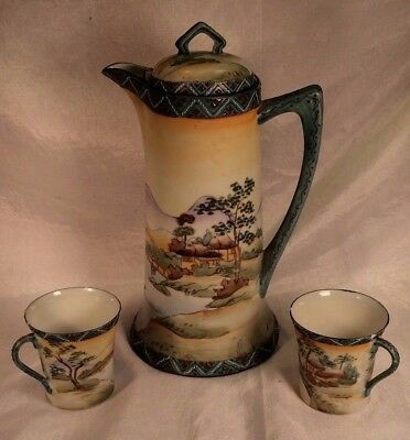 19thC Hand Painted Nippon Chocolate Pot & 2 Cups Eggshell Porcelain Ruby Jewels
