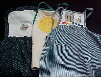 3 Vintage Antique Bib Full Cover Apron Cotton Fabric 1970s+ Estate Buy LOT