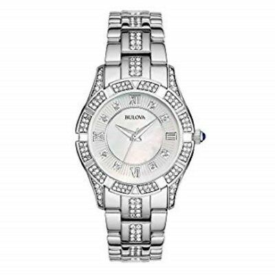 BULOVA Crystals Mother of Pearl Dial Ladies Watch 96L116