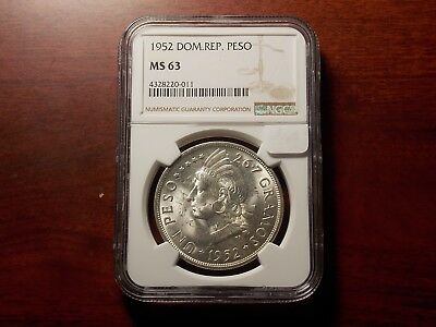 1952 Dominican Republic Un Peso Silver coin NGC MS-63