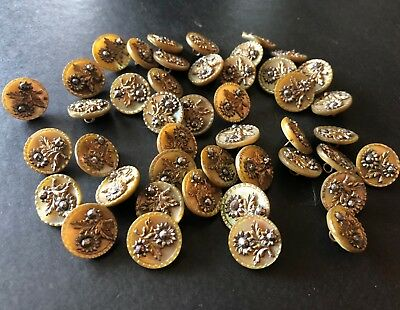 44 Antique Metal BUTTONS, Mother of Pearl & Metal