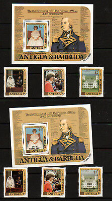 Antigua 1984 Set B & C, 6 Values Plus 2 M.s.  M. & L.m.m.