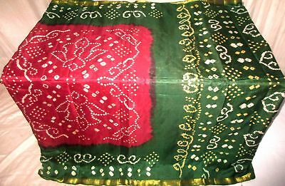 Maroon Green Pure Silk 4 yard Vintage Sari Saree SALE DEAL BARGAIN Girls #9EEQB