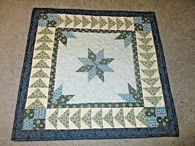 "Hand Made Quilted Table Runner/ Topper /Mat ~ Blue Star ~ 21"" x 21"""