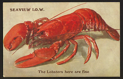 ISLE OF WIGHT Seaview lobster novelty pull-out postcard