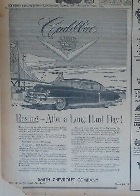 1953 newspaper ad for Cadillac - Resting after long hard day in his Cadillac