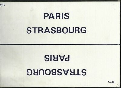 Plaque De Direction Sncf Paris-Strasbourg // Mulhouse-Paris