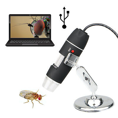2MP 40-1000X 8 LED USB Digital Microscope Endoscope Zoom Camera Magnifier+Stand