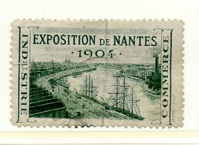 France EXPO Poster Stamp 1907 Nantes Exposition Industry Commerce Sailing Ship