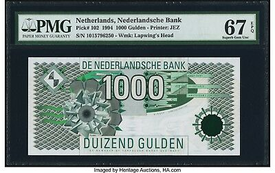 NETHERLANDS 1000 Gulden 1994  P-102   PMG 67 EPQ  Superb Gem UNC