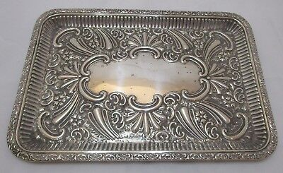 Antique Edwardian Sterling silver embossed dressing table tray, 1904, 308 grams