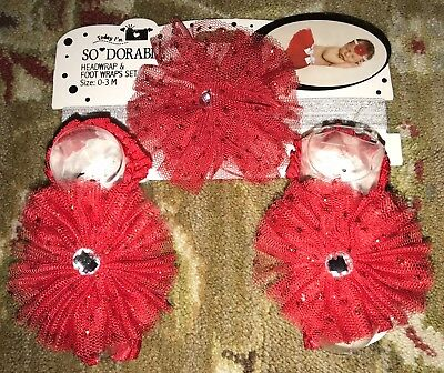 SoDorable VALENTINE'S DAY RED TULLE HEADWRAP & FOOT WRAPS SET- 0-3 MOS-NWT!