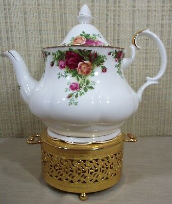Royal Albert Old Country Roses Large Teapot & Gold Filigree Warmer Made England
