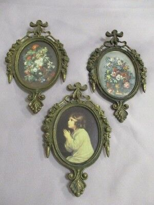 Lot-3 Vtg ornate oval brass picture frames made in italy 1 child 2 flowers