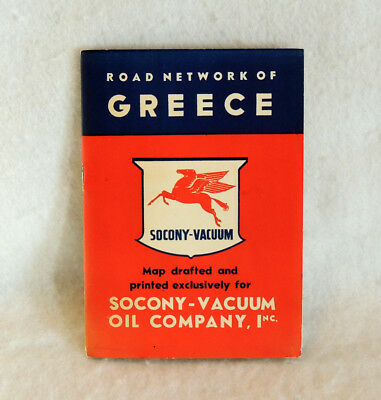 1950s Vintage Mobil Gas Socony Vacuum Oil Gas Road Map GREECE Jules Pusol