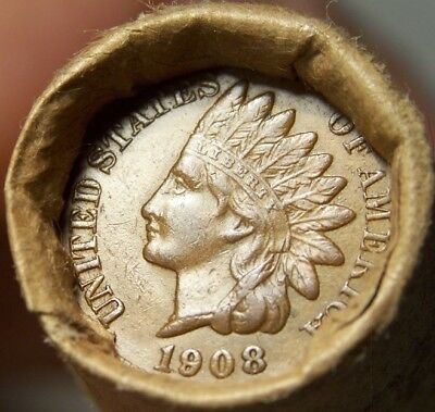 1908 Indian/1906 Indian Head Cent Ends Mixed Antique Roll As In Pictures #7502