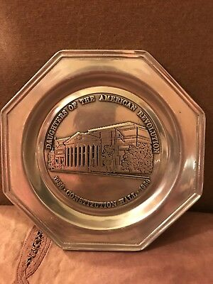 Vintage Pewter Plate Wilton Columbia PA RWP Daughters Of American Rev 1930-80