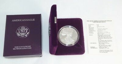 1990-S US Mint Proof Silver Eagle 1 oz .999 Fine in Box & COA OGP