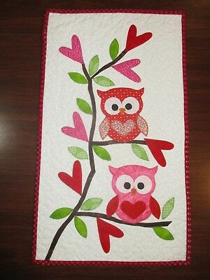 "Hand Made Art Quilt / Wall Hanging   ""Valentine Owls"" ~12"" x 21"" ~ Appliqued"