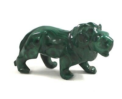 Collectable Green MALACHITE LION Polished Precious Stone Figure  - W69