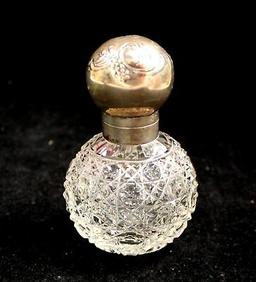 Vintage Hallmarked German SOLID SILVER Top Cut Glass Perfume/ SCENT BOTTLE - S43
