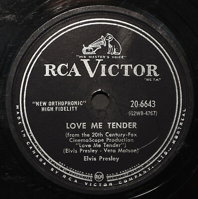 "ELVIS PRESLEY ""LOVE ME TENDER"" + 78 RPM Rockabilly 1956 Canada RCA 20-6643 VG+"