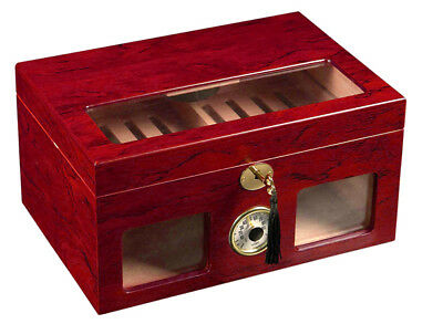 120 ct UNIQUE CIGAR HUMIDOR - CLEAR TOP AND FRONT VIEW