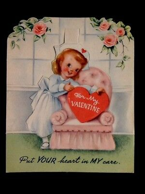 "Vintage c1940s ""Put Your Heart In My Care"" Nurse's Valentine Greeting Card"