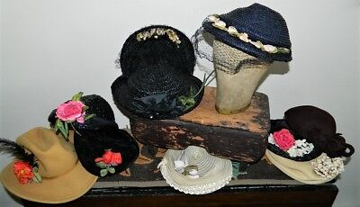 Eleven Vintage Ladies Hats 50's 60's Retro Awesome Netting Flowers Lot