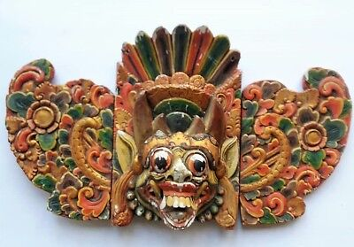 Antique Balinese Devil Mask, Wall Hanging With Wings, Wood Carving, Bali