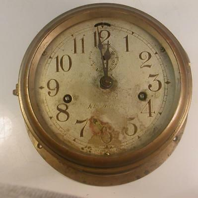 Antique Seth Adams 6 Inch Brass Ship's Clock-Great Patina Repairs-Untested