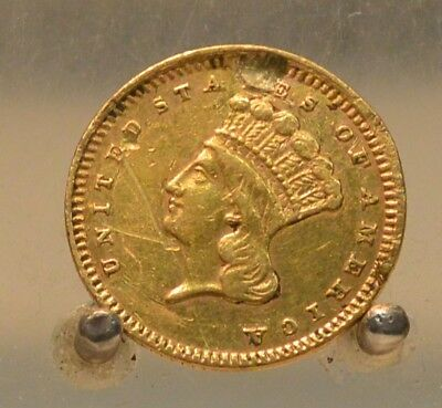 1881 Gold 1 dollar Gold Coin. Hole Filled and Bent
