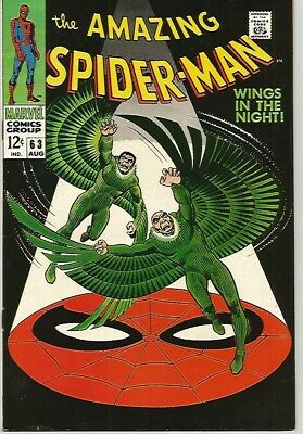 AMAZING SPIDER-MAN # 63   Gorgeous Silver Age VULTURE Cover! Solid VF8.0