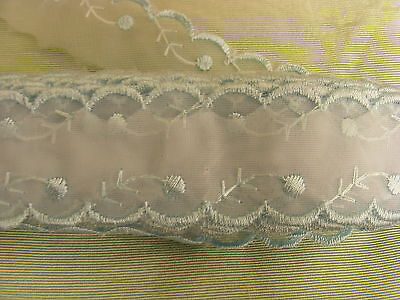 Embroidered Organza Lace  Blue  No 8 X 17  mts