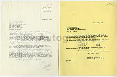Isaac Asimov - Science Fiction Author and Professor - Autographed 1962 Letter