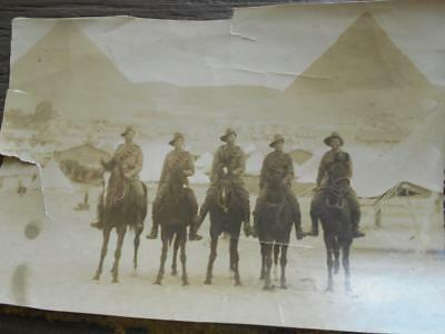C 1915 Australian Light Horse 5 mounted troopers Egypt pyramid photograph ALH