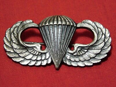 A+ WWII US Army Airborne Jump Wing Paratrooper Sterling Pin Badge Early