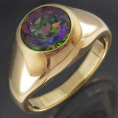 Mens Solid 14k Yellow GOLD Bezel set  MYSTIC TOPAZ SOLITAIRE PINKY RING Sz T