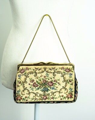 40s/50s Vintage Tapestry, Needlepoint Floral Hand Bag, Clutch, Purse antique