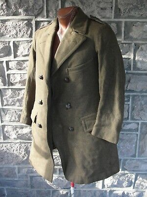 WW1 Canadian Wool Overcoat The Brodmotor Brand British Make with Leather Buttons
