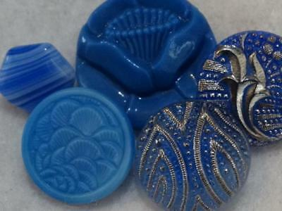 GORGEOUS BLUE VINTAGE ANTIQUE GLASS BUTTONS Silver Luster Rose Flowers +