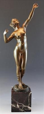 C1910 French Bronze Figural Sculpture Nude Woman Reveling w/ Marble Base