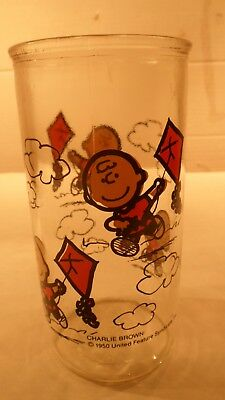 Vtg 1950 Peanuts Charlie Brown Kite Jelly Jar Drinking Glass Tumbler 5 1/2""