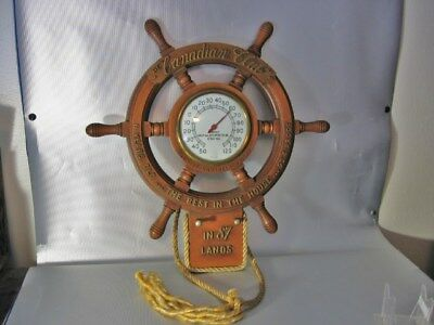 vintage CANADIAN CLUB WHISKEY BOAT FISHING NAUTICAL SIGN THERMOMETER BACK BAR