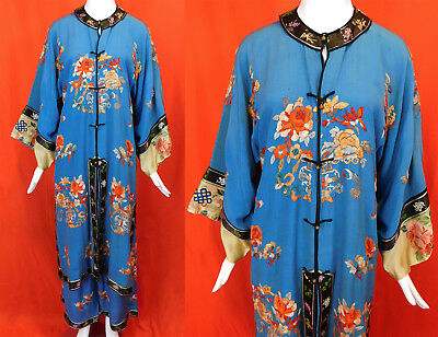 Antique Chinese Blue Silk Embroidered Peony Vase Pajamas Palazzo Pants Long Robe