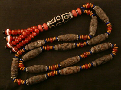 "30"" Fine Old Tibetan Agate Dzi *3Eyed* Beads Necklace W/Dzi *9Eyed* Pendant H093"