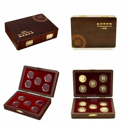 10Coin Wooden Storage Holder Collection Wood Case Display Box Round Capsule New